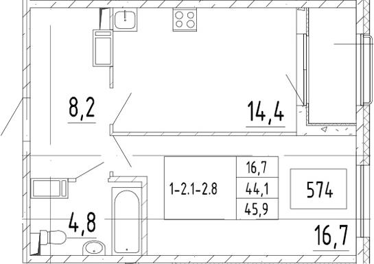 1-комнатная, 45.9 м²– 2