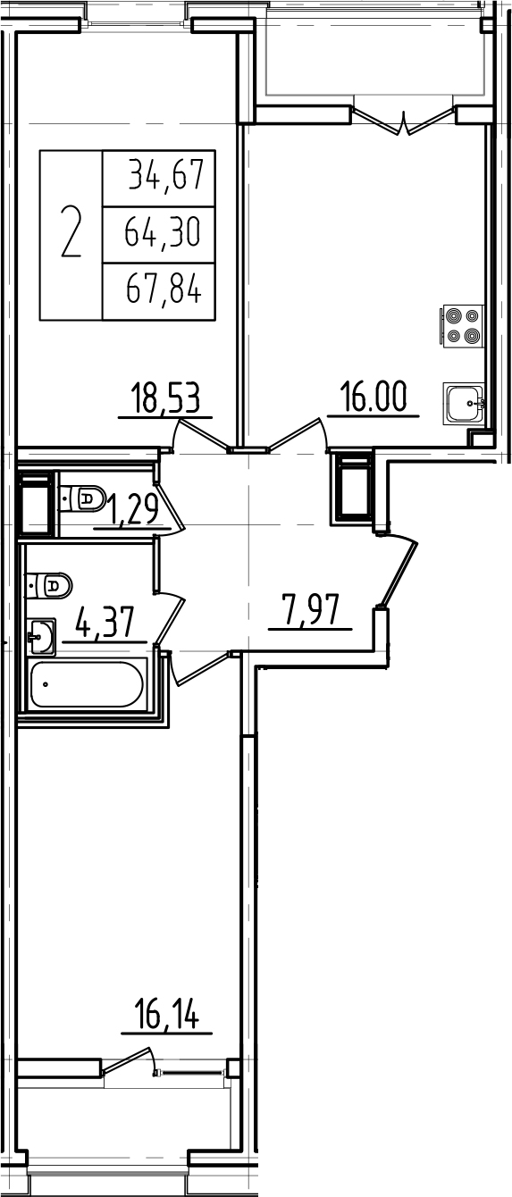 3Е-к.кв, 67.84 м²