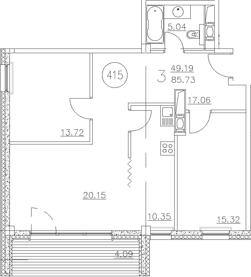 3-к.кв, 88.05 м²