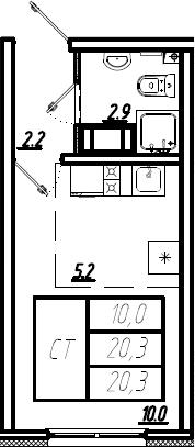 Студия, 20.3 м², 3 этаж – Планировка