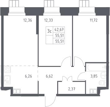 3Е-к.кв, 55.51 м², 2 этаж