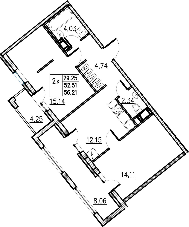 2-комнатная, 56.21 м²– 2