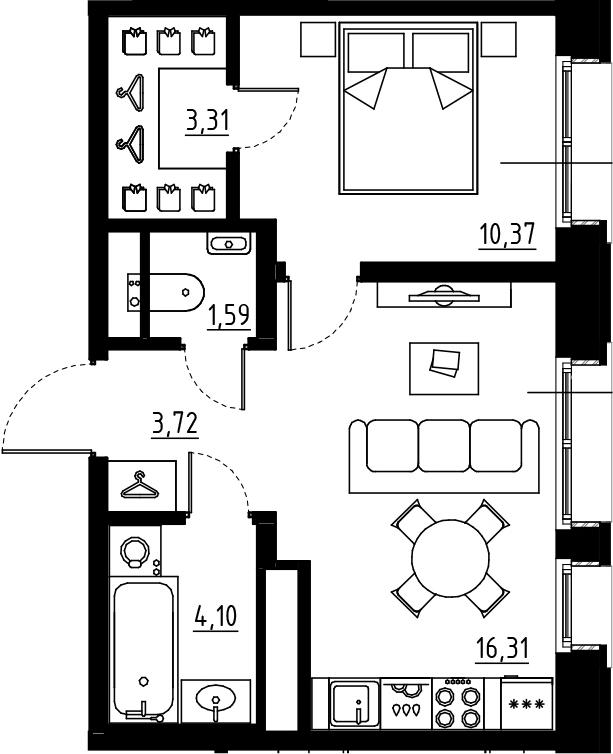 2Е-к.кв, 39.4 м², от 3 этажа