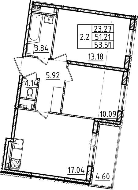 3Е-к.кв, 53.51 м²