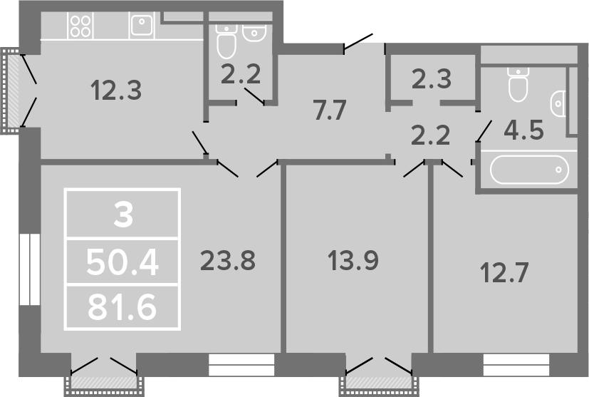 3-комнатная, 81.6 м²– 2
