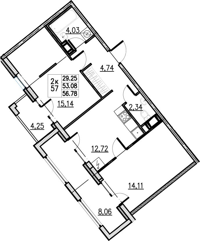 2-комнатная, 56.78 м²– 2