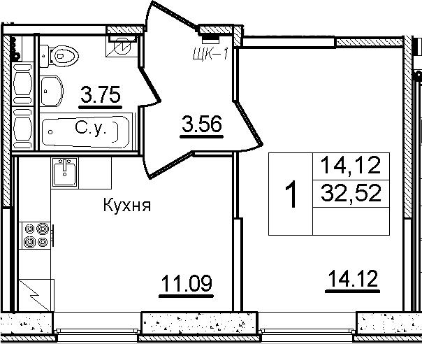 1-к.кв, 32.52 м², 1 этаж