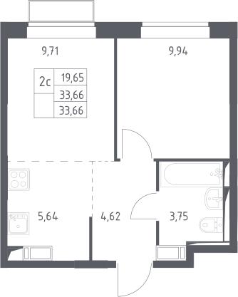 2Е-комнатная, 33.66 м²– 2