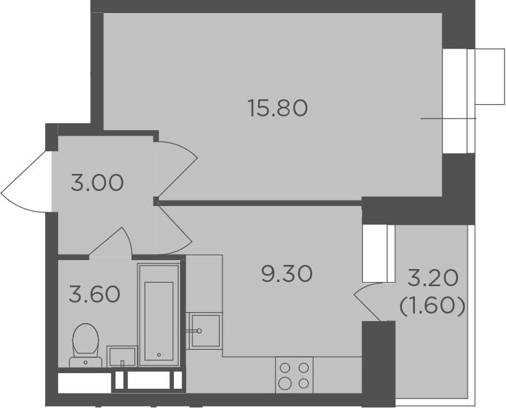 1-к.кв, 33.3 м², от 5 этажа