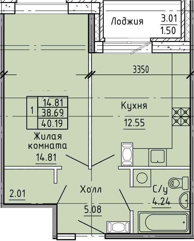 1-комнатная, 38.69 м²– 2