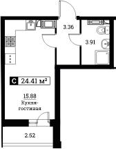 Студия, 24.41 м²