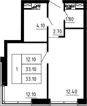 1-к.кв, 33.1 м², 12 этаж