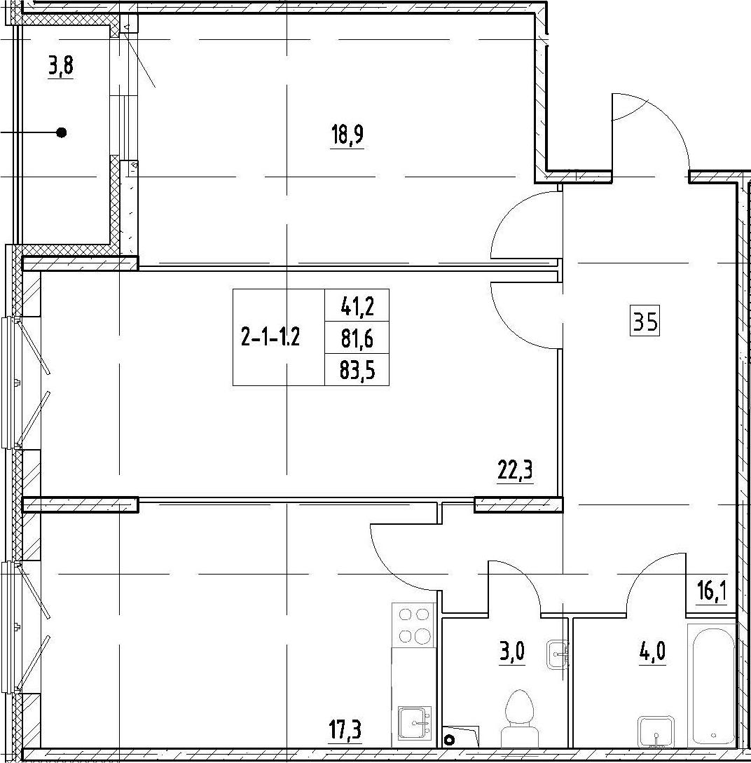 3Е-комнатная квартира, 83.5 м², 2 этаж – Планировка