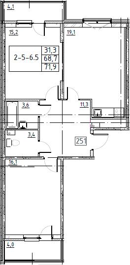 3Е-к.кв, 71.9 м², 3 этаж