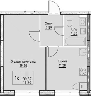 1-комнатная, 39.57 м²– 2