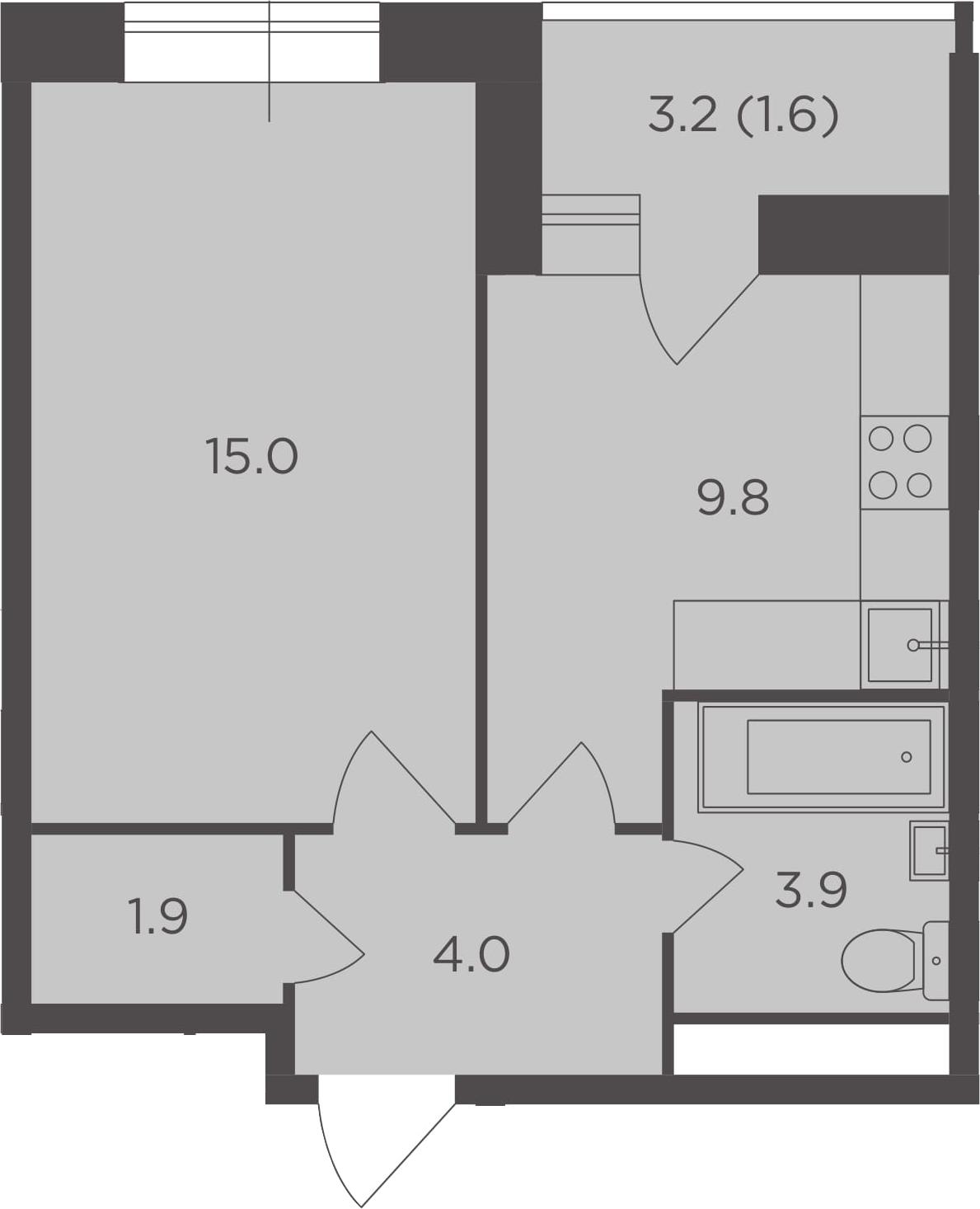 1-к.кв, 36.2 м², 15 этаж