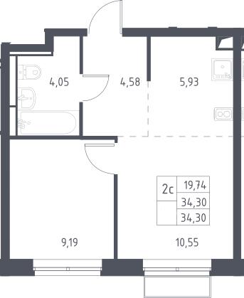 2Е-к.кв, 34.3 м², 2 этаж