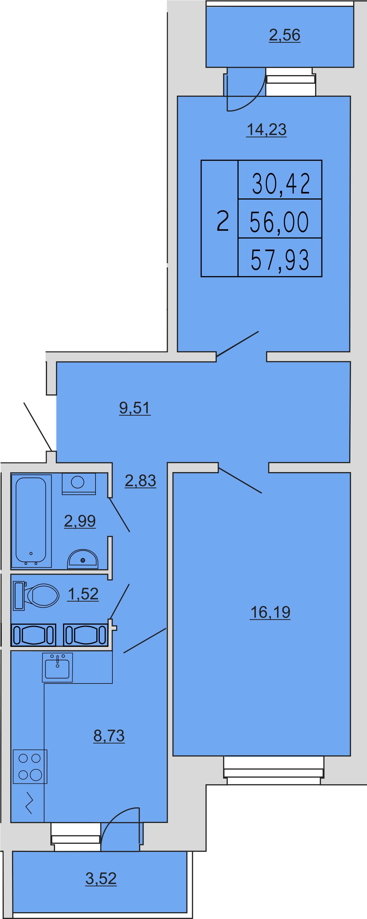 2-к.кв, 63.87 м²