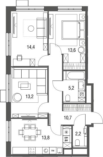 3-к.кв, 73.1 м², от 6 этажа