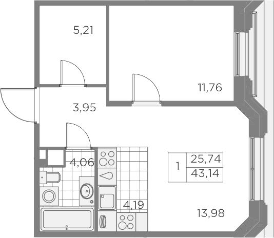 2Е-комнатная, 43.15 м²– 2