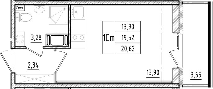 Студия, 19.52 м², 16 этаж
