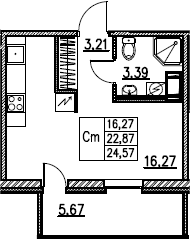 Студия, 24.57 м²– 2