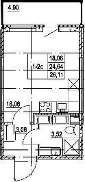 Студия, 29.54 м²
