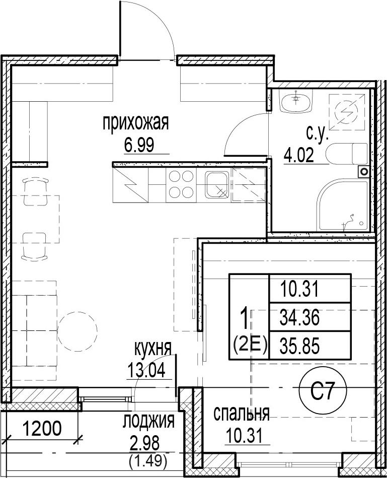 2-к.кв (евро), 37.34 м²