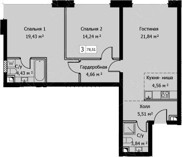 3Е-комнатная, 78.51 м²– 2