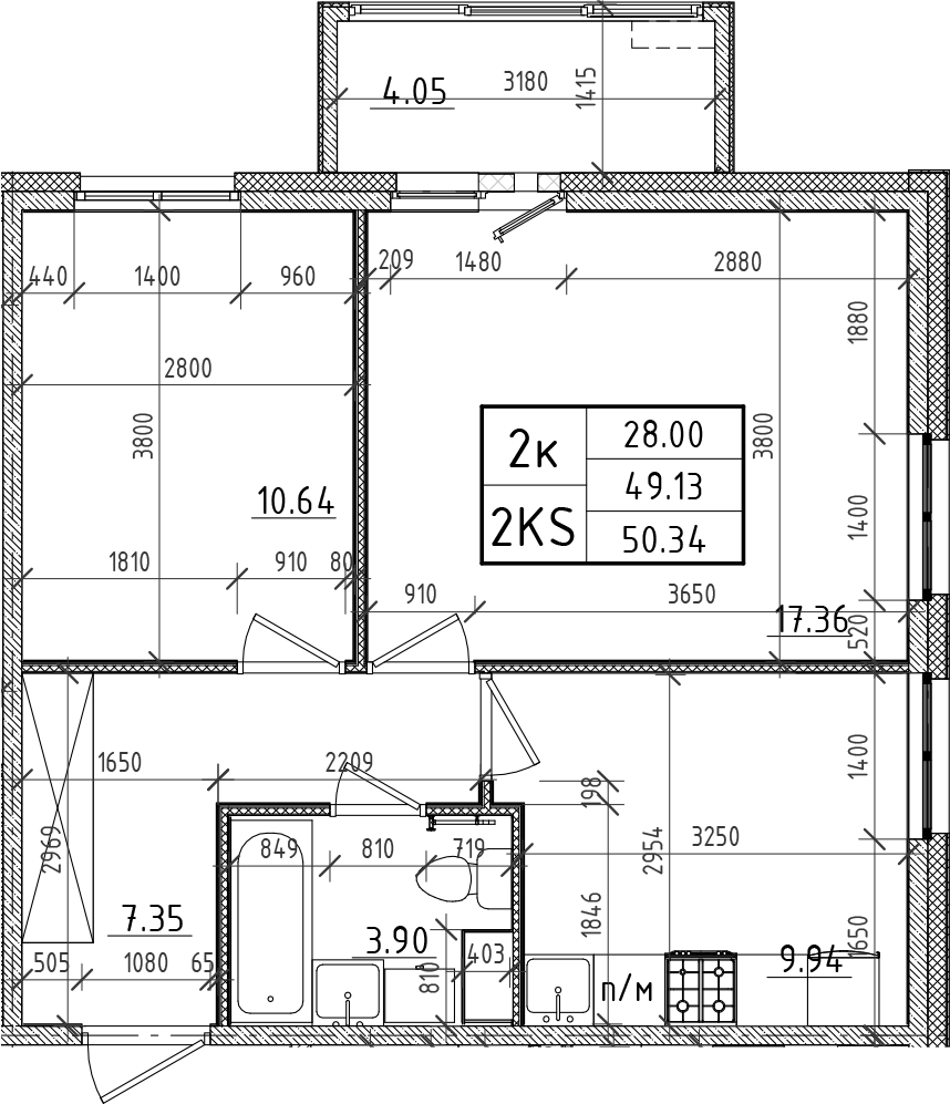 2-к.кв, 49.13 м²