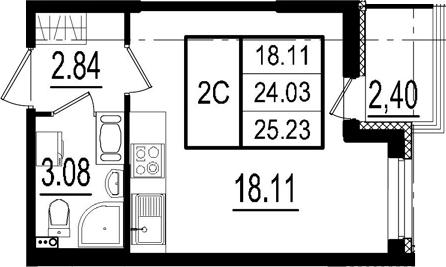 Студия, 24.03 м², 5 этаж
