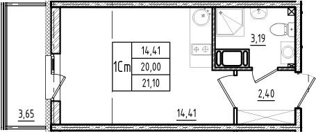 Студия, 20 м²– 2