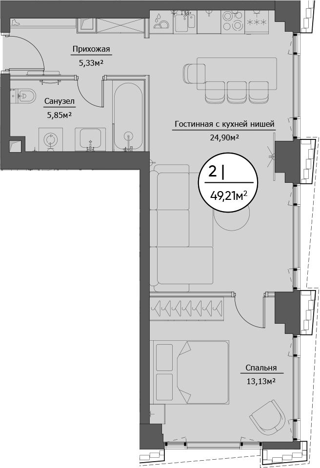 2Е-комнатная, 49.21 м²– 2