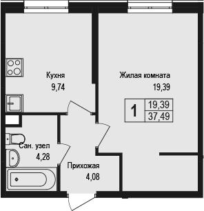 1-к.кв, 37.49 м²