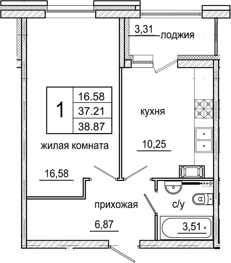 1-к.кв, 40.52 м²