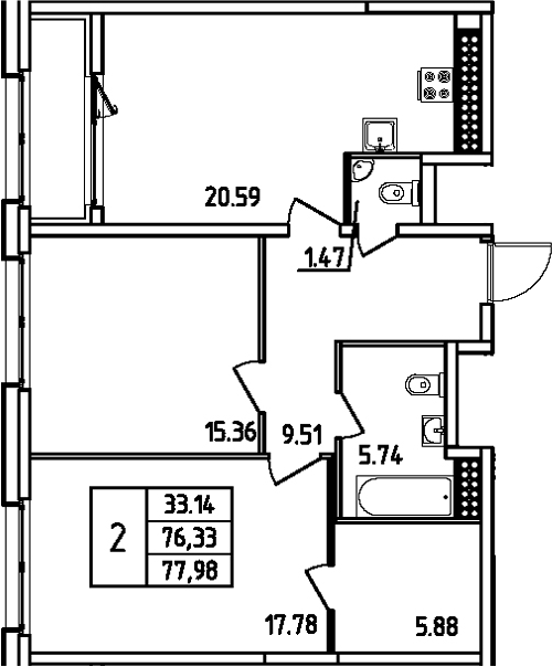 3Е-комнатная, 77.98 м²– 2