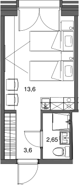 Студия, 19.85 м²– 2