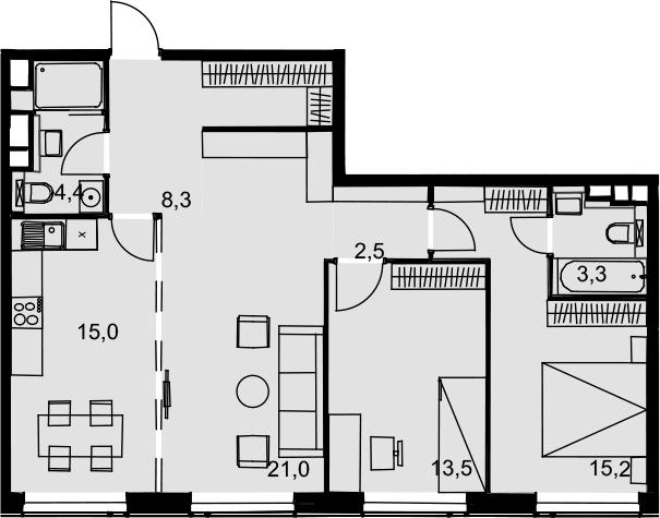 3-к.кв, 83.2 м²