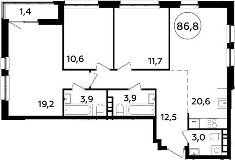 4Е-комнатная квартира, 86.8 м², 14 этаж – Планировка
