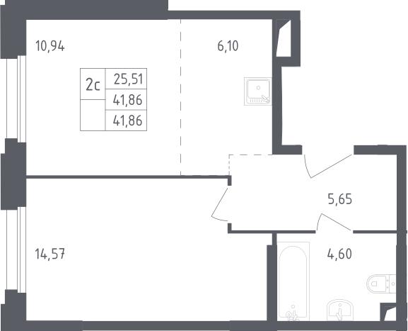 2Е-комнатная, 41.86 м²– 2
