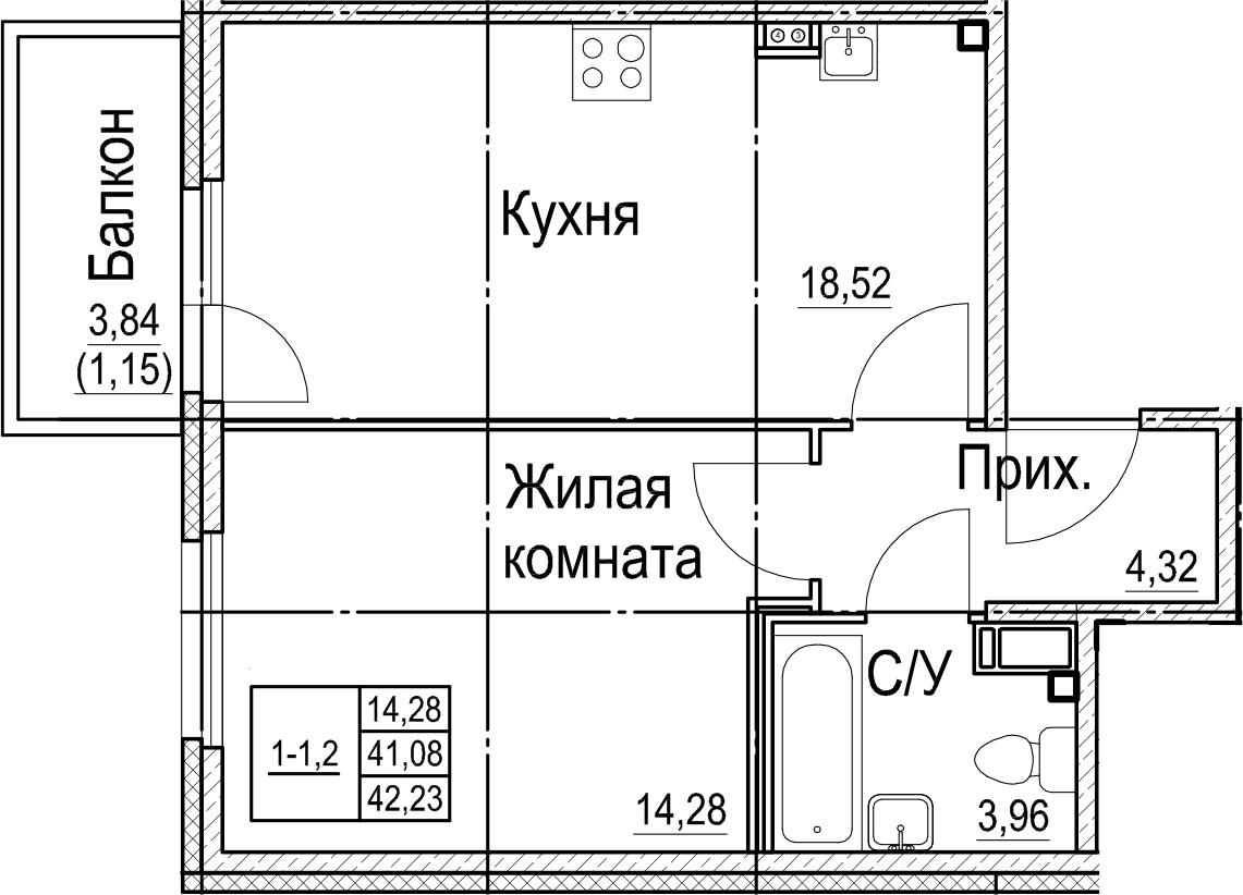 2-к.кв (евро), 44.91 м²