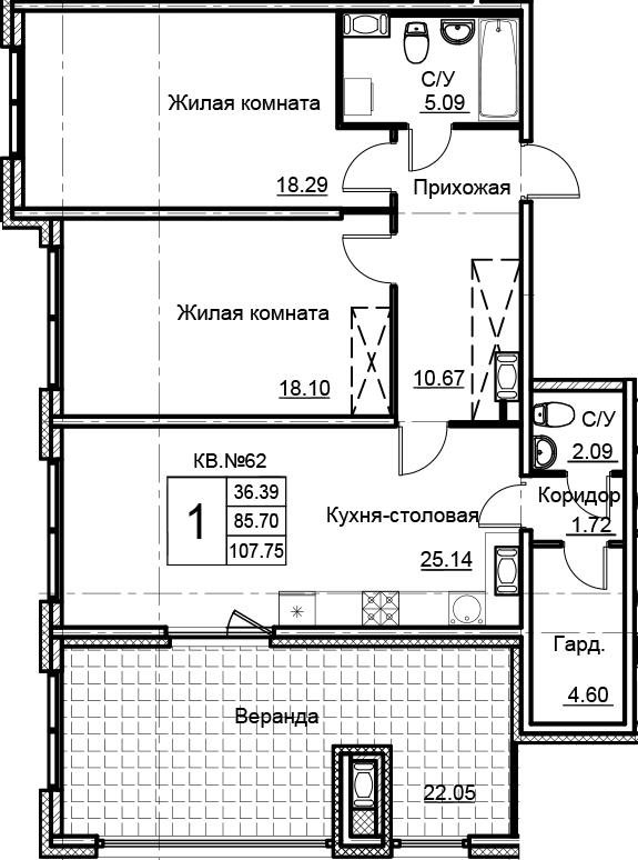 3Е-к.кв, 107.75 м², 15 этаж