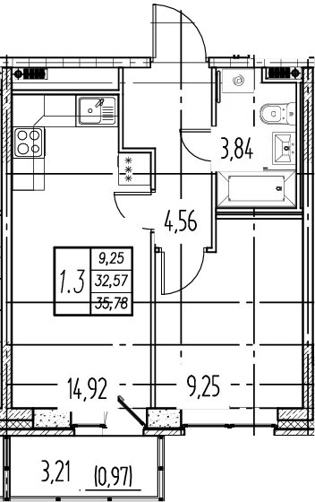 2Е-к.кв, 32.57 м²