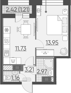 1-к.кв, 35.44 м²