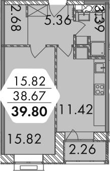 1-комнатная, 39.8 м²– 2