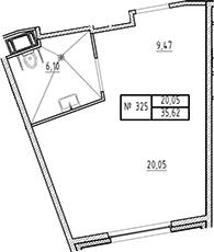 Студия, 35.62 м²– 2
