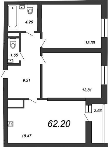 3-к.кв (евро), 63.51 м²