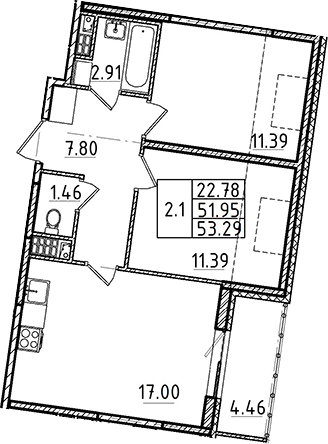 3Е-комнатная, 51.95 м²– 2