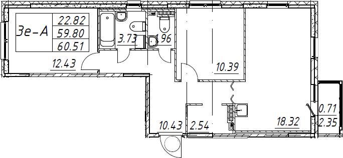 3Е-к.кв, 60.51 м², 3 этаж