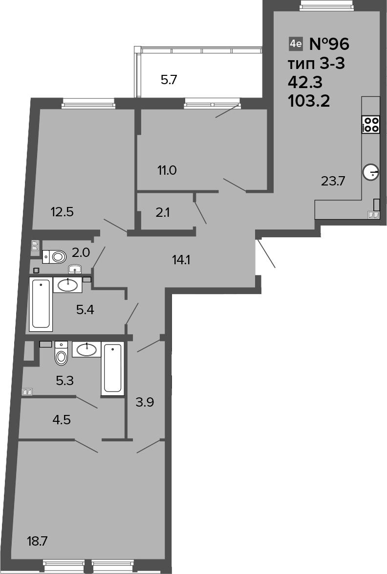 4Е-комнатная, 103.2 м²– 2